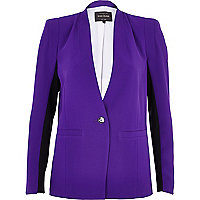 Bright purple colour block blazer