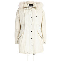 Cream parka jacket