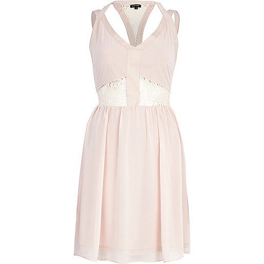 Beige lace insert slip dress