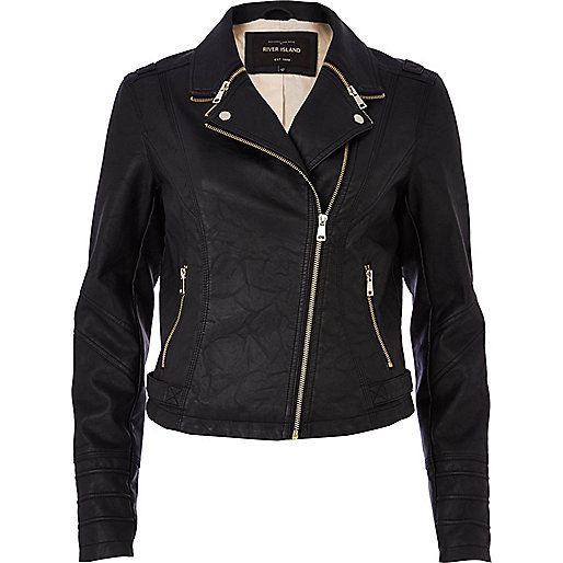 Black zipped collar biker jacket