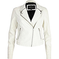 White zipped collar biker jacket
