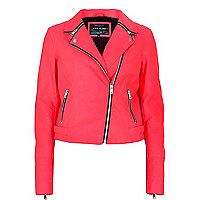 Bright pink zip collar biker jacket
