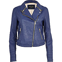 Blue zipped collar biker jacket