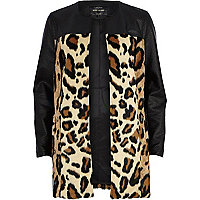 Black leopard print colour block coat