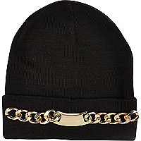 Black chain trim beanie hat