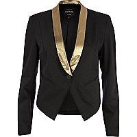 Black metallic collar tux blazer