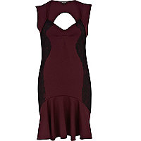 Dark red contrast lace panel flute hem dress