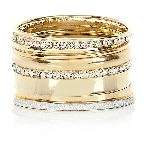 Gold tone diamante bangle pack