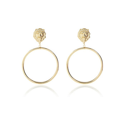 Gold tone Lion head hoop earrings