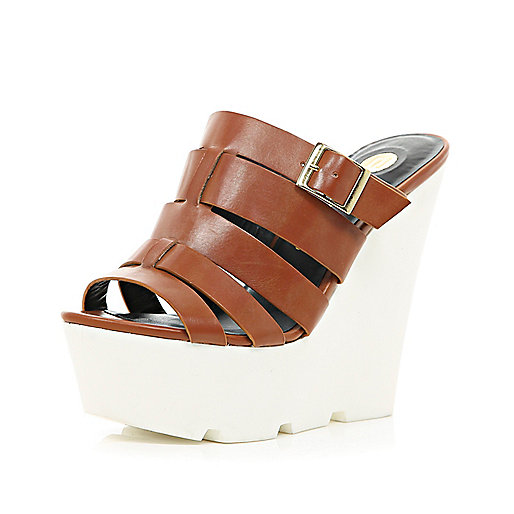 Brown gladiator mule wedges