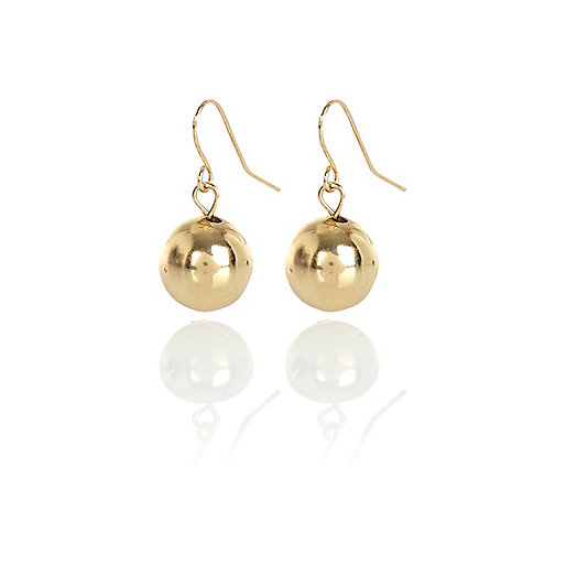 Gold tone bauble drop earrings