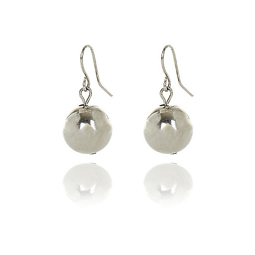 Silver tone bauble drop earrings