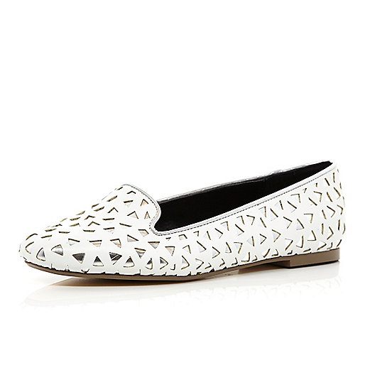 White cut out slipper shoes