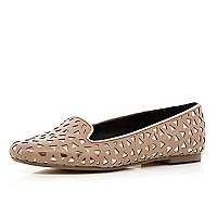 Beige cut out slipper shoes