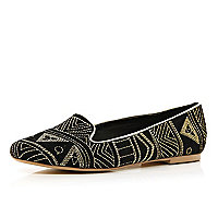 Black tribal embroidered slipper shoes