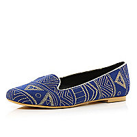 Blue tribal embroidered slipper shoes