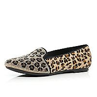Gold leopard print beaded slipper shoes