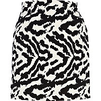 Black animal print high waisted skirt
