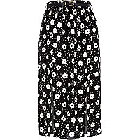 Black daisy print split midi skirt