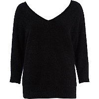 Black angora V neck jumper