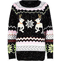 Black Christmas Reindeer pattern jumper