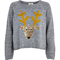 Grey sequin Reindeer jumper