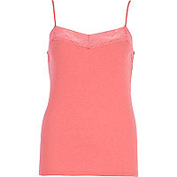 Bright pink lace trim cami top