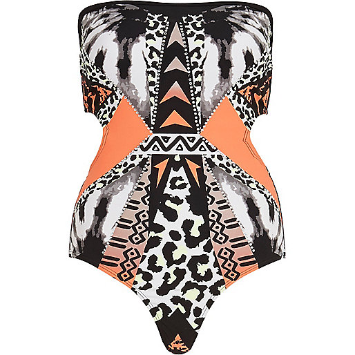 Black abstract print heatseal swimsuit