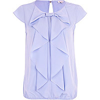 Blue bubble hem bow front blouse