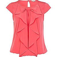 Pink bubble hem bow front blouse