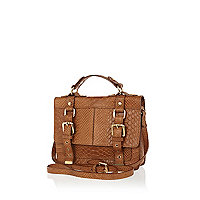 Brown snake leather mini satchel