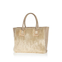 Cream faux fur panel oversized tote bag