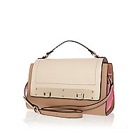 Cream colour block double lock satchel