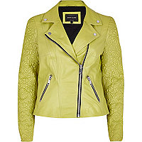 Lime embossed leather jacket
