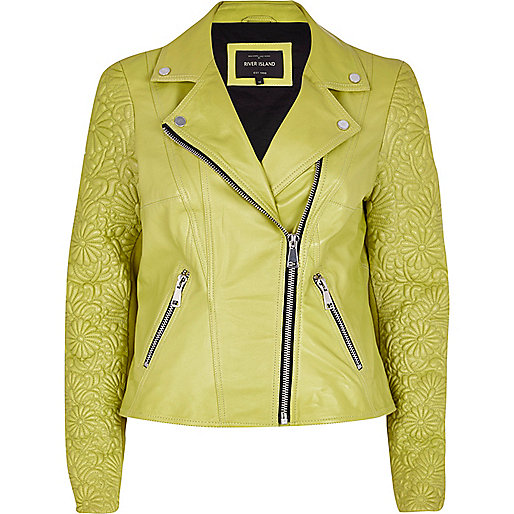 Lime embossed leather jacket