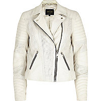 White perforated panel leather biker jacket