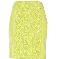 Lime green floral embossed mini skirt