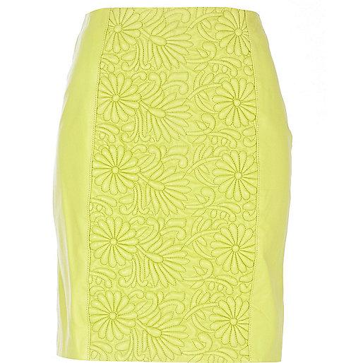 Lime green floral embossed mini skirt