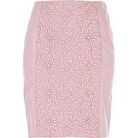 Pink floral embossed leather mini skirt