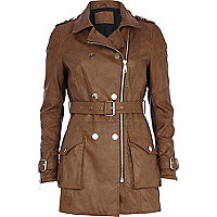 Brown leather-look biker trench coat