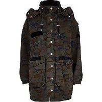 Khaki camo print parka jacket