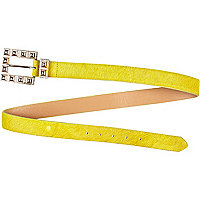 Bright yellow pony skin jeans belt