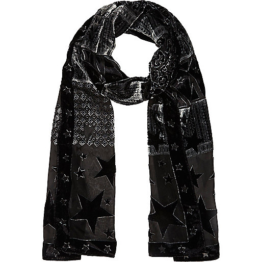 Black star devore skinny scarf