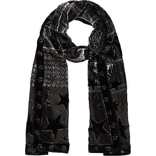 Black star devore skinny scarf