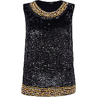 Black embellished shell top