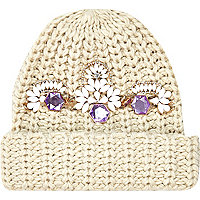 Cream jewel embellished beanie hat