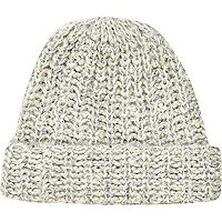 Cream pearl embellished beanie hat