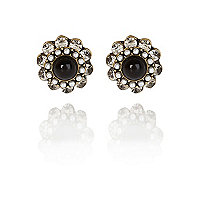 Black gem stone surround stud earrings