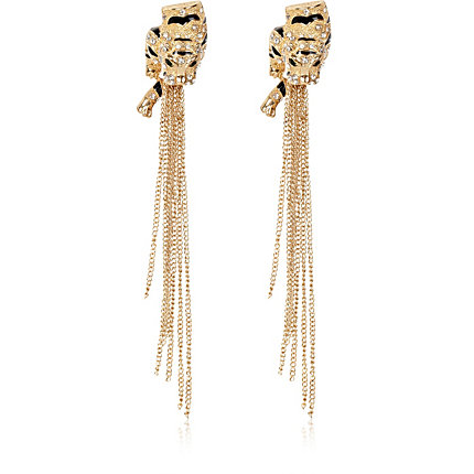 Gold tone tiger chain drop earrings