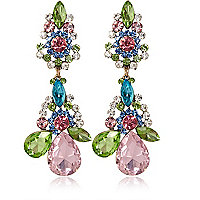 Multicoloured gem stone drop earrings